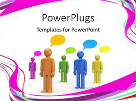 Presentation design having colored 3D men with speech bubbles standing on white background