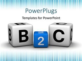 Presentation design having colored B2C cubes depicting business to customer relationship