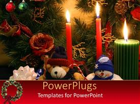 Amazing PPT layouts consisting of colored candles with Christmas depiction and teddy bears