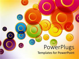 Presentation theme featuring colored circles on white lit background