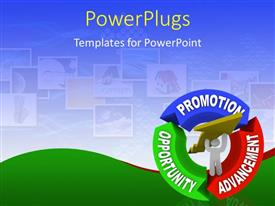PPT theme having colored cycle from opportunity to promotion and advancement