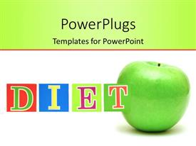 PPT theme consisting of colored letters form word DIET with green apple on white background
