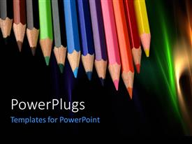 Colorful PPT theme having colored pencils in a row with nice abstract colorful shades