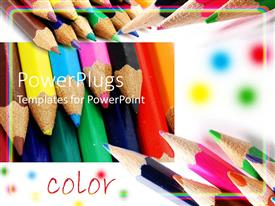 Presentation design featuring colored pencils shown at different angles with word color, art, creativity