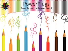 Presentation theme consisting of colored pencils of various sizes with colorful waving lines on white background