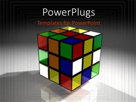 Presentation theme having a colorful 3D rubix cube on an ash colored background