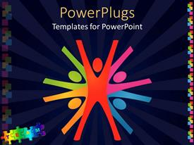 Elegant PPT theme enhanced with colorful abstract depiction of teamwork in dark blue background
