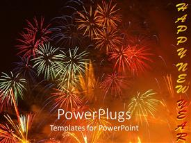 Presentation theme with colorful bursting fireworks on night sky happy new year