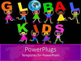 Presentation theme with colorful children carrying letters forming GLOBAL KIDS sign in black background