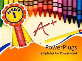 Elegant PPT theme enhanced with colorful crayons on lined paper with pencil and a+ grade and ribbon with number 1 winner