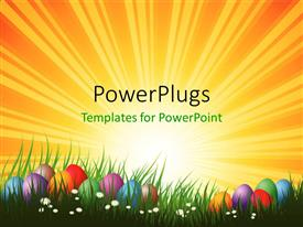 Easter powerpoint templates ppt themes with easter backgrounds amazing presentation design consisting of colorful easter eggs arranged in green grass and white flowers template size toneelgroepblik Choice Image