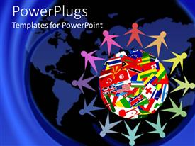 Slides featuring colorful figures holding hands sitting around Planet Earth covered in various flags of countries of the world
