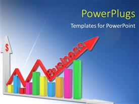 PPT theme consisting of colorful financial chart with red business arrow over blue background