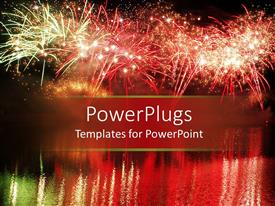 Presentation design enhanced with colorful fireworks in a night scenery reflected in the water