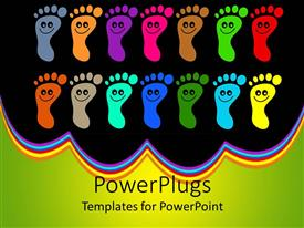 Colorful presentation having colorful footprints with happy faces on them in black background