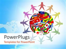 5000 world flags powerpoint templates w world flags themed backgrounds presentation design with colorful icon made up of diverse people from all over the world around gumiabroncs Gallery