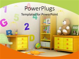 Audience pleasing PPT theme featuring colorful kids room with brown book, toys and desks