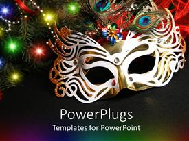 Audience pleasing PPT theme featuring colorful masquerade mask surrounded by lights