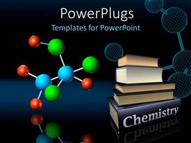 Colorful presentation having colorful molecular structure and wireframe model with chemistry books