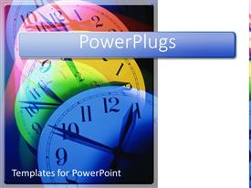 PPT theme featuring colorful multicolored clocks showing the pass of time with white background
