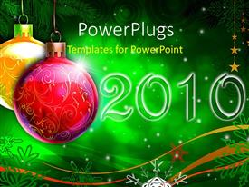 PPT layouts enhanced with colorful ornaments with new year decoration on green background