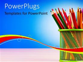 PPT theme with colorful pencils arranged in basket on desk