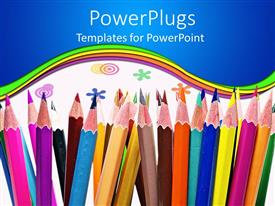 Audience pleasing slide deck featuring colorful pencils and colored circles and flowers on white background