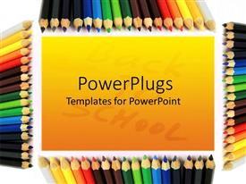 Elegant PPT theme enhanced with colorful pencils as frame surrounding orange background