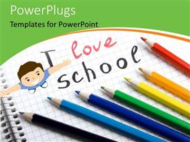 PPT theme enhanced with colorful pencils lined up on exercise book with happy kid