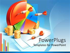 Colorful PPT theme having colorful pie chart with orange darts and stacks of coins