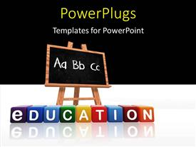 PPT theme enhanced with colorful text that spell out the word