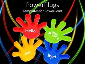 Presentation design having colorful toy hands waving on black background with colorful lines
