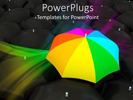 Colorful presentation theme having colorful umbrella with reflection on black background