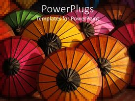 PPT layouts featuring colorful umbrellas seen from above, pink, orange, red, yellow and green top of umbrellas