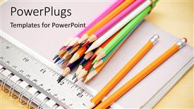 Elegant PPT layouts enhanced with a lot of color pencils with register in the background