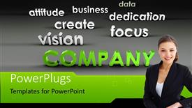 PPT theme with young business professional with company success ingredients on grey background