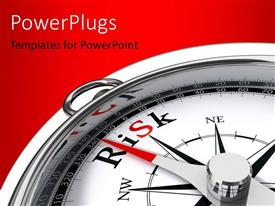 Colorful PPT theme having compass with dial pointing at risk direction over red background