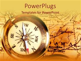 Colorful presentation design having compass on top of map on vintage looking background