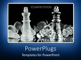 Elegant slides enhanced with competition metaphor with chess pieces on black background with blue border