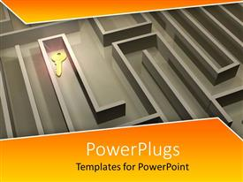Elegant PPT theme enhanced with a complicated maze with a key and yellowish background