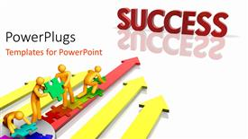 Beautiful PPT layouts with depiction of team working together towards success over white surface