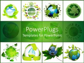 Colorful presentation design having concept of recycling the world on white background