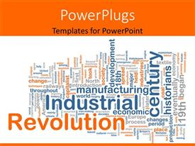 Presentation theme consisting of conceptual background with terms relating to industrial revolution