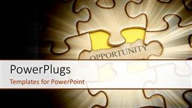 Elegant slide deck enhanced with spotlight on jigsaw puzzle with word opportunity on missing piece