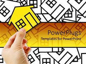 PPT theme having conceptual design for real estate, little white card board homes with a yellow home on the front in a man hand