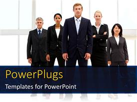 Elegant PPT theme enhanced with team of business professionals standing beside office building