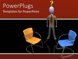 Colorful PPT theme having a confused figure with two chairs in front