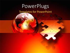 PPT theme featuring connected metallic puzzle pieces and 3D globe floating above a red and orange