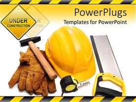 PPT layouts enhanced with constructing tools with under construction sign yellow hardhat gloves hammer measuring tape and handsaw