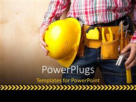 Presentation theme enhanced with a construction engineer yellow with helmet and tools and textured wall